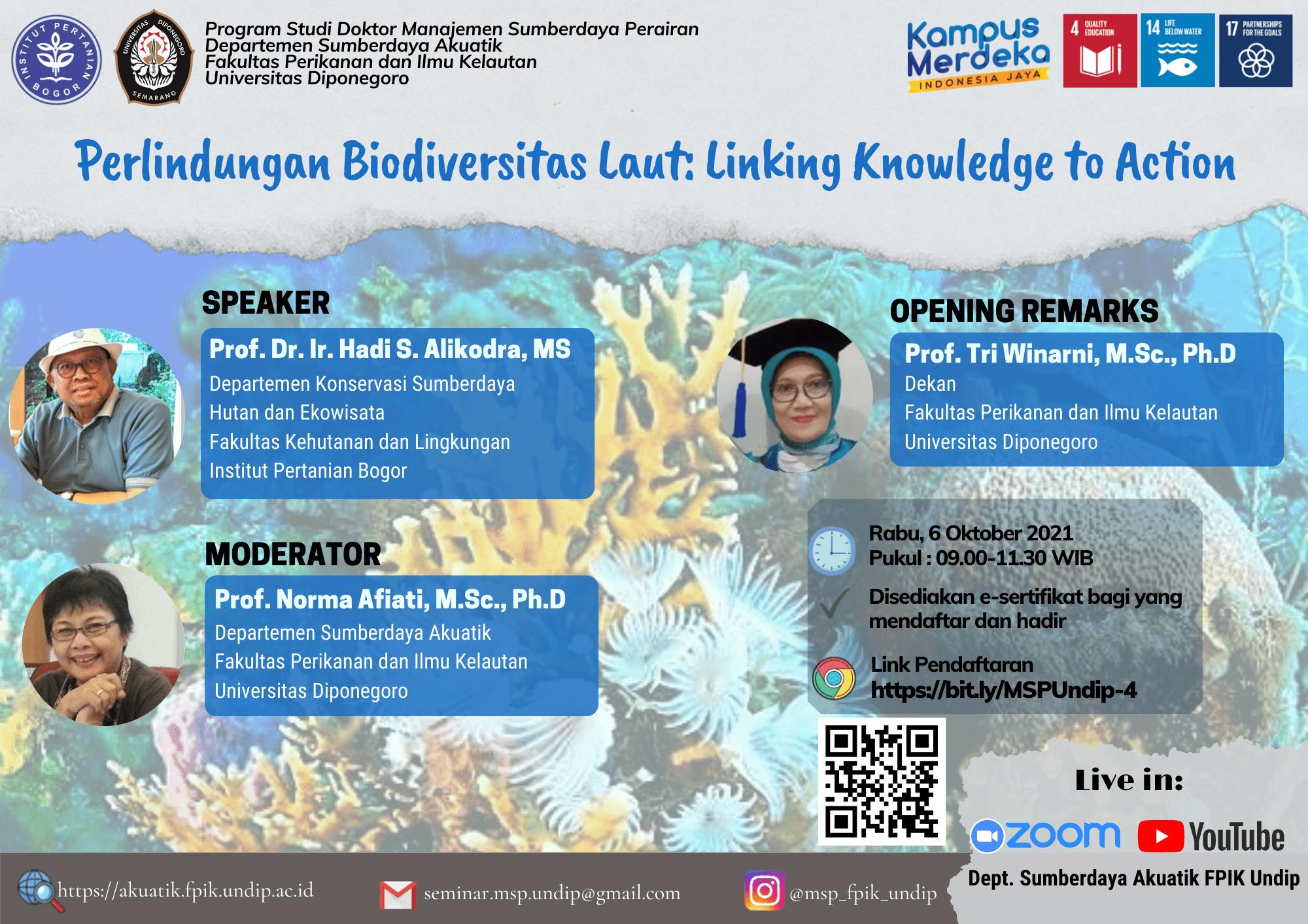 Perlindungan Biodiversitas Laut : Linking Knowledge to Action