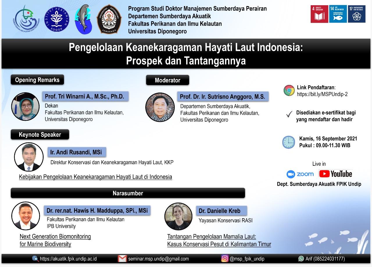 Seminar Online MSP : Pengelolaan Keanekaragaman Hayati Laut Indonesia: Prospek dan Tantangannya